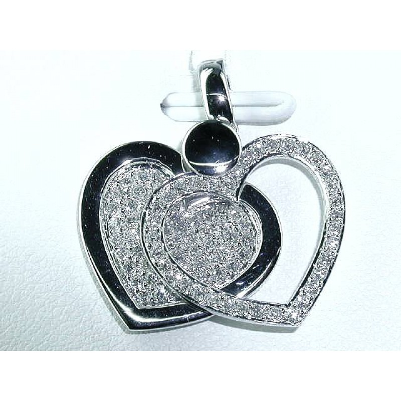 Two Heats Stick Together Diamond Pendant