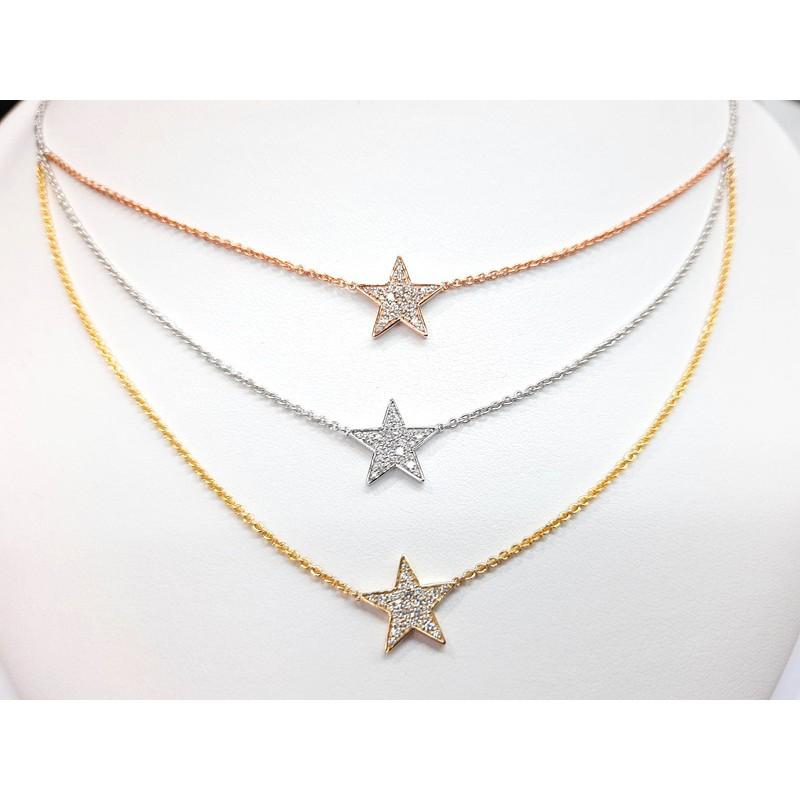 Round Dimond 3-Tones Necklace