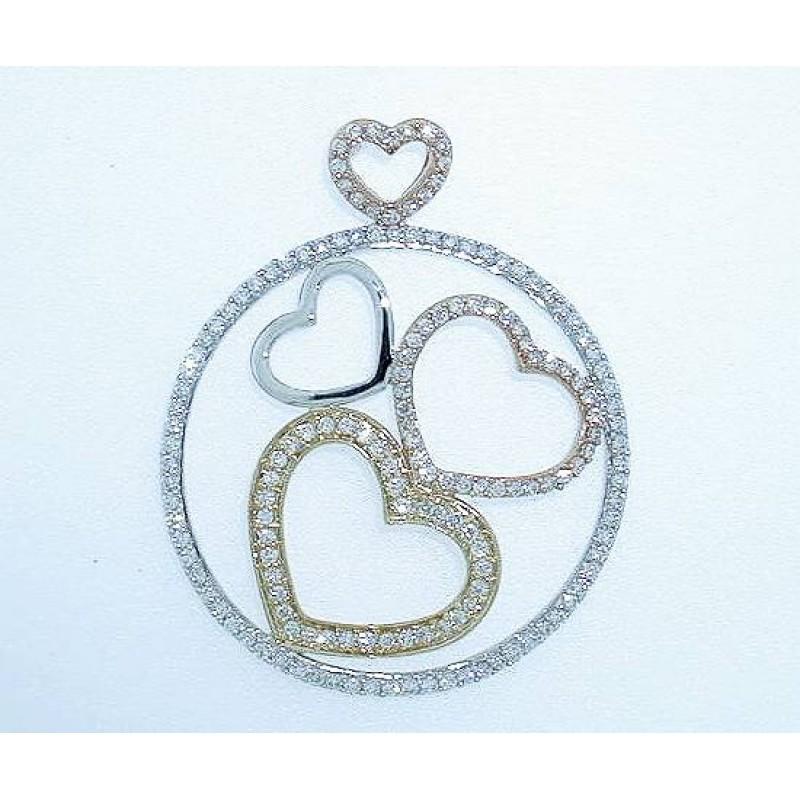 Round Diamond 3-Tones Fashion Pendant